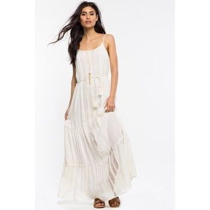 Agaci Ivory Villa Crochet Maxi Dress S